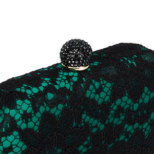 Carmen Lace Clutch in Green 3 | The Chic Initiative | Malaysian label of specially designed clutches, evening bags and minaudieres | Free shipping to Malaysia Singapore Brunei