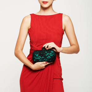 Carmen Lace Clutch in Green 2 | The Chic Initiative | Malaysian label of specially designed clutches, evening bags and minaudieres | Free shipping to Malaysia Singapore Brunei