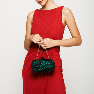 Carmen Lace Clutch in Green 4 | The Chic Initiative | Malaysian label of specially designed clutches, evening bags and minaudieres | Free shipping to Malaysia Singapore Brunei