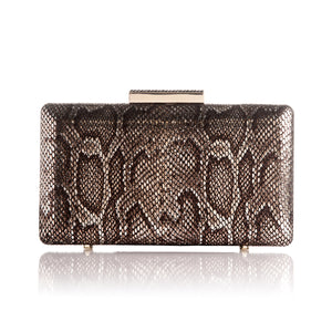 Alexa Serpentine Leather Clutch in Bronze 1 | The Chic Initiative | Malaysian label of specially designed clutches, evening bags and minaudieres | Free shipping to Malaysia Singapore Brunei