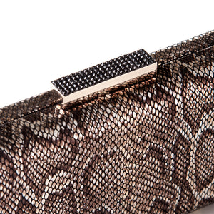 Alexa Serpentine Leather Clutch in Bronze 5 | The Chic Initiative | Malaysian label of specially designed clutches, evening bags and minaudieres | Free shipping to Malaysia Singapore Brunei