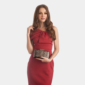Alexa Serpentine Leather Clutch in Bronze 4 | The Chic Initiative | Malaysian label of specially designed clutches, evening bags and minaudieres | Free shipping to Malaysia Singapore Brunei