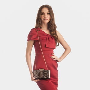 Alexa Serpentine Leather Clutch in Bronze 6 | The Chic Initiative | Malaysian label of specially designed clutches, evening bags and minaudieres | Free shipping to Malaysia Singapore Brunei