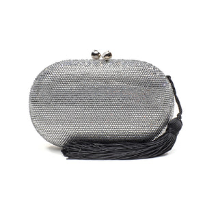 Raphael Crystal Clutch (Silver) 1 | The Chic Initiative | Malaysian label of specially designed clutches, evening bags and minaudieres | Free shipping to Malaysia Singapore Brunei
