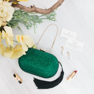 Raphael Crystal Clutch (Green) 7 | The Chic Initiative | Malaysian label of specially designed clutches, evening bags and minaudieres | Free shipping to Malaysia Singapore Brunei