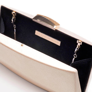 Sandro Satin Clutch (Rose Gold)