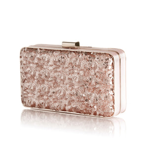 Danielle Sequined Clutch in Rose Gold 3 | The Chic Initiative | Malaysian label of specially designed clutches, evening bags and minaudieres | Free shipping to Malaysia Singapore Brunei