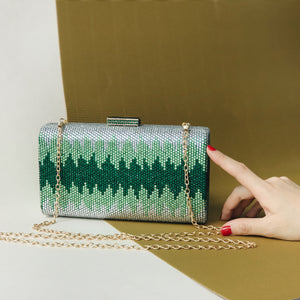 Nerissa Crystal Clutch in Green 5 | The Chic Initiative | Malaysian label of specially designed clutches, evening bags and minaudieres | Free shipping to Malaysia Singapore Brunei