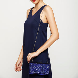 Tosca Sequin Clutch in Blue 4 | The Chic Initiative | Malaysian label of specially designed clutches, evening bags and minaudieres | Free shipping to Malaysia Singapore Brunei