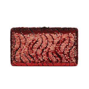 Tosca Sequin Clutch in Red 1 | The Chic Initiative | A label of specially designed clutches, evening bags and minaudieres | Free shipping to Malaysia Singapore Brunei