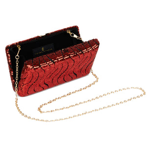 Tosca Sequin Clutch in Red 5 | The Chic Initiative | A label of specially designed clutches, evening bags and minaudieres | Free shipping to Malaysia Singapore Brunei