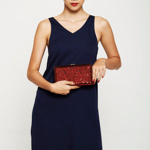 Tosca Sequin Clutch in Red 2 | The Chic Initiative | A label of specially designed clutches, evening bags and minaudieres | Free shipping to Malaysia Singapore Brunei