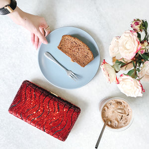 Tosca Sequin Clutch in Red 8 | The Chic Initiative | A label of specially designed clutches, evening bags and minaudieres | Free shipping to Malaysia Singapore Brunei