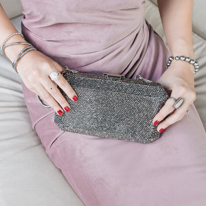 Veralyn Crystal Clutch (Pewter) 7 | The Chic Initiative | Malaysian label of specially designed clutches, evening bags and minaudieres | Free shipping to Malaysia Singapore Brunei