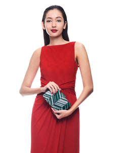 Zig Zag Crystal (Green) 3 | The Chic Initiative | Malaysian label of specially designed clutches, evening bags and minaudieres | Free shipping to Malaysia Singapore Brunei