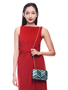 Zig Zag Crystal (Green) 5 | The Chic Initiative | Malaysian label of specially designed clutches, evening bags and minaudieres | Free shipping to Malaysia Singapore Brunei