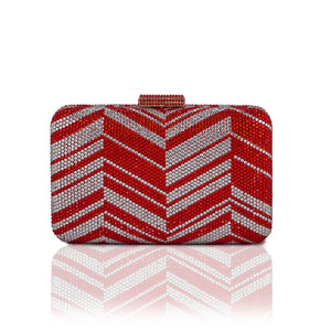 Zig Zag Crystal Clutch in Red 1 | The Chic Initiative | Malaysian label of specially designed clutches, evening bags and minaudieres | Free shipping to Malaysia Singapore Brunei