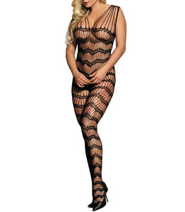 Strappy Shoulders Sheer Open Net Black Bodystockings
