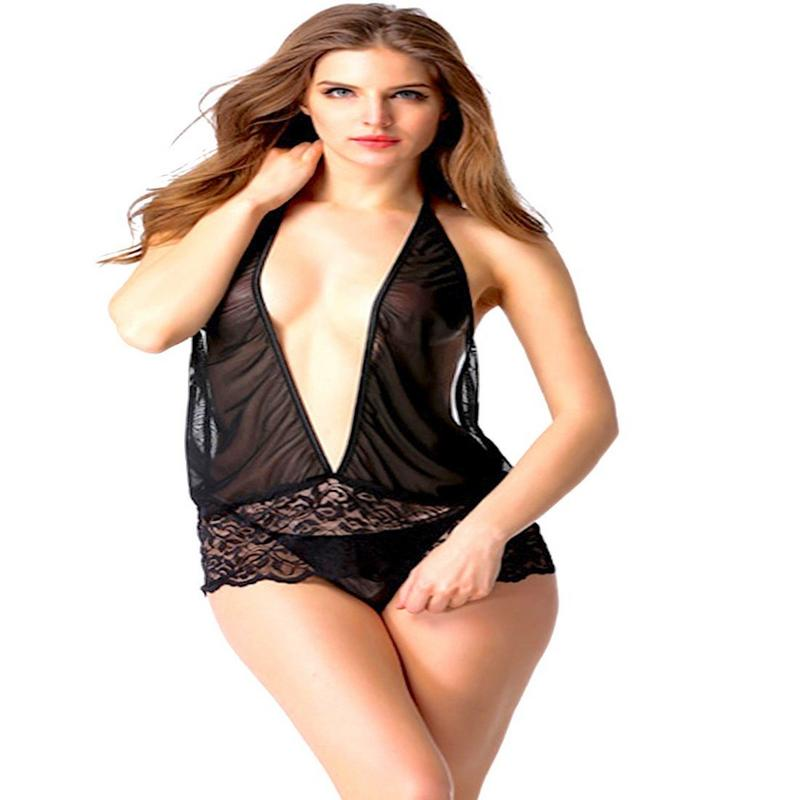 Black Babydoll Lace Nighty with Matching Panty