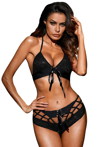 Black Lace Bra and Boyshort Set