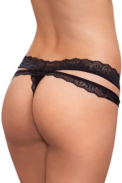 Black Scalloped Lace Thong