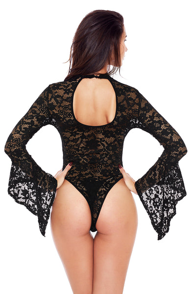 Black Sheer Floral Lace Long Bell Sleeve Bodysuit