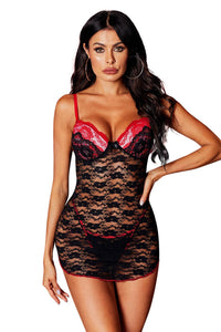 Black Sweet Underwire Floral Lace Chemise Lingerie