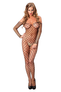 Off-the-shoulder Fence Net Bodystocking