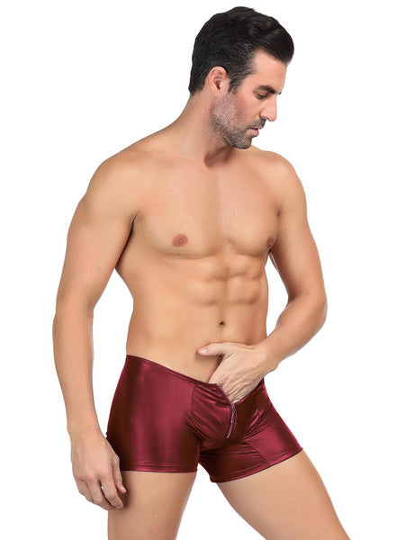 Men's Leather Pants With Exposed Hips Red