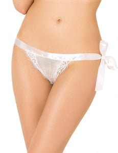 Women's Crotchless Panty White Lace | White Color