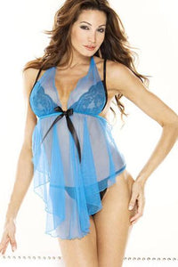 Sexy Blue Nighty Set for Ladies with G String