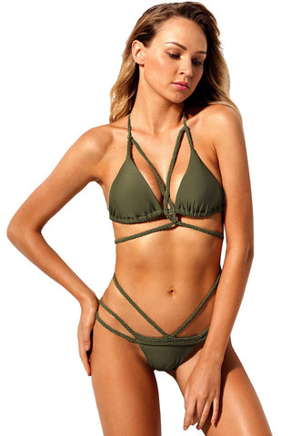 Army Green Braided Rope Strappy Bikini Swimsuit