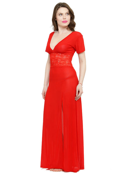 V-Neck Red Lace Nighty with G-String