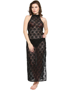 See-Thru Side Slit Black Lace Gown Night Dress with G-String