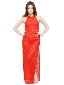 See-Thru Side Slit Red Lace Gown Night Dress with G-String