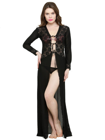 Deep Neck Black Lace Long Sleeves Bridal Nightwear with G-String