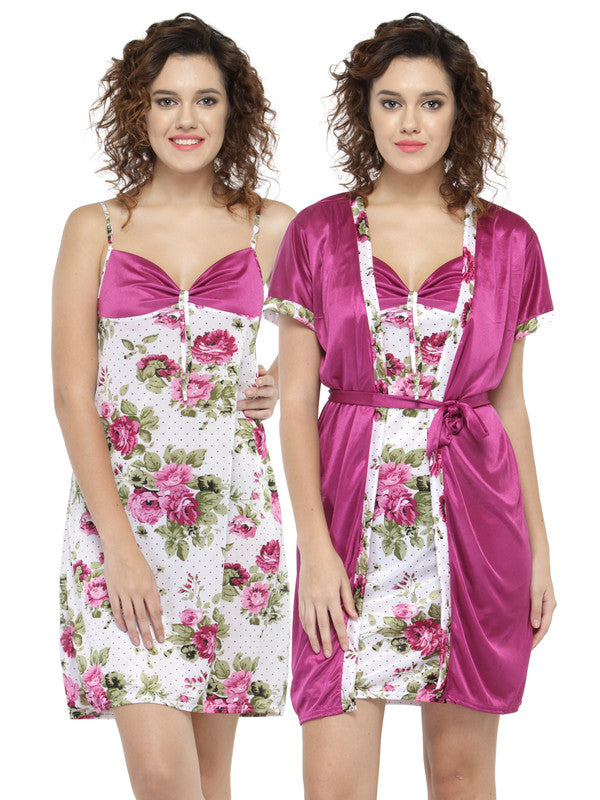 Pack Of 2 Pcs Magenta Floral Pattern Bridal Short Nighty Robe Lingerie Nightwear Combo