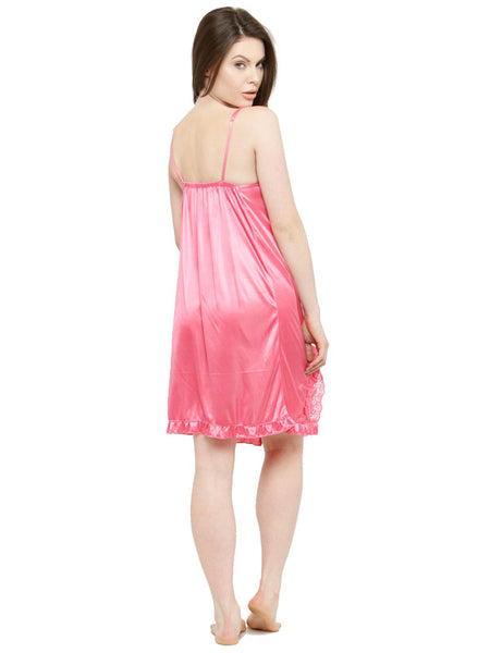 Stylish Pink Satin Bridal Babydoll Dress Nightwear