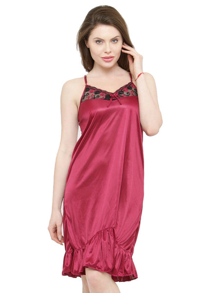 Ruffle Maroon Satin Bridal Sexy Babydoll Dress Nightwear