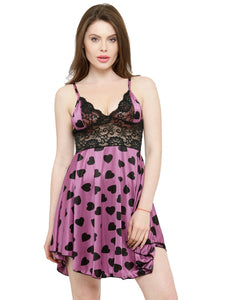 Satin Heart Print Soft Bridal Babydoll Dress Nightwear Purple