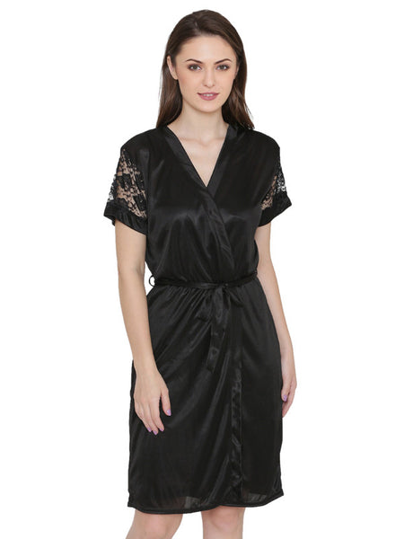 Women Satin Black with Robe Lingerie 2 Pcs Nightwear Set Black