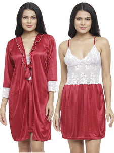 Women Satin Floral Pattern Embroidered Knee Length Nighty Gown with Robe Lingerie 2 Pcs Nightwear Set Maroon
