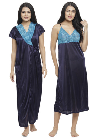 Women Satin Patch Lace Embroidered Long Nighty Gown with Robe Lingerie 2 Pcs Nightwear Set NavyBlue