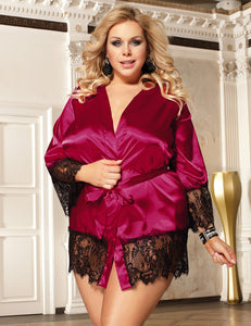 Wine Red Silk Satin Lace Sexy Women Kimono Home Pajamas - Xl/2XL