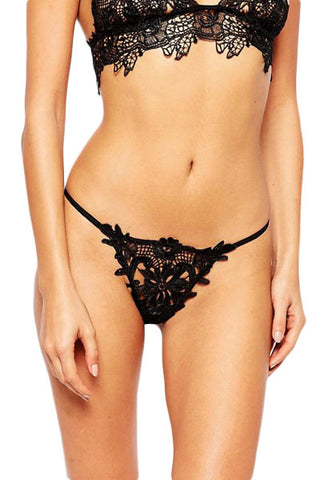 Black Lace Crochet Lined Sexy Thong