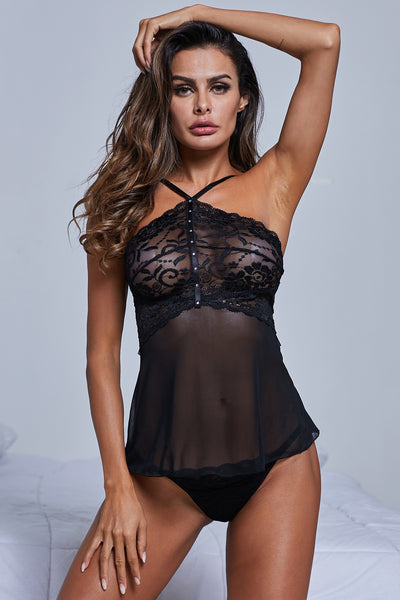 Romantic Black Babydoll Set