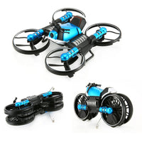 Drone convertible into radio control motorcycle. Wifi control