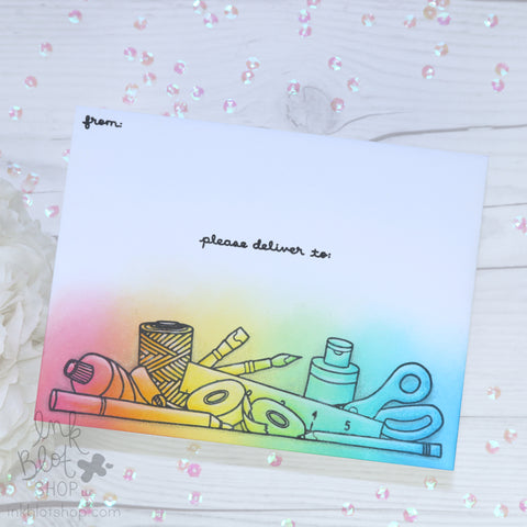 Envelope with Craft Supplies and Rainbow Ink Blending