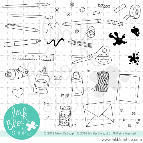 Arts & Crafts Icons :: 6x8 Clear Stamp Set