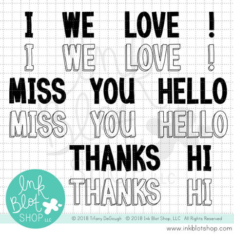 Big Block Greetings :: 6x8 Clear Stamp Set